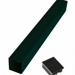 Заборы, ворота и элементы - Столб для забора 80*80 Н-3000мм, с пластиковой заглушкой, грунт черный, 0
