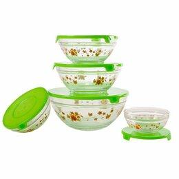Бокалы и стаканы - Набор стеклянных салатников с крышками GLSA-5-002, 0