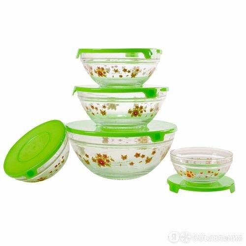 Набор стеклянных салатников с крышками GLSA-5-002 по цене 486₽ - Наборы посуды для готовки, фото 0