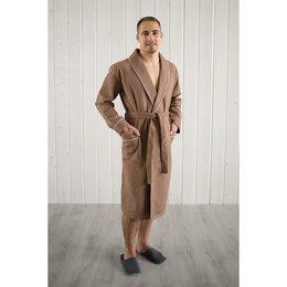 Домашняя одежда - HomeLiness Халат мужской, шалька+кант, размер 50, цвет шоколадный, вафля, 0