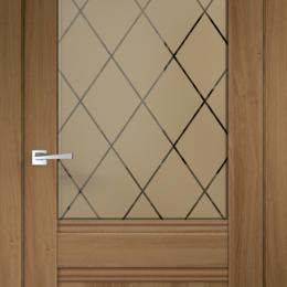 Межкомнатные двери - Межкомнатные двери Экошпон ALTO 2V  цвет Орех Золотой стекло РОМБ бронза 600х..., 0
