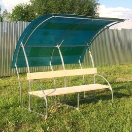 Столы - Лавочка с навесом Агросфера Ландыш, СПК 4мм Бирюзовый, Сухая обрезная доска, 0