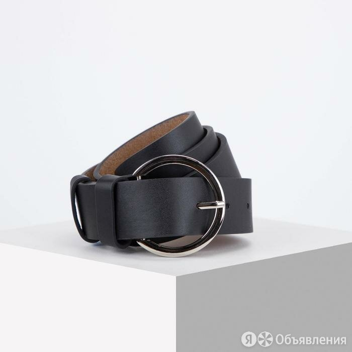 Ремень женский, ширина 3,5 см, винт, пряжка металл, цвет чёрный по цене 458₽ - Ремни, пояса и подтяжки, фото 0