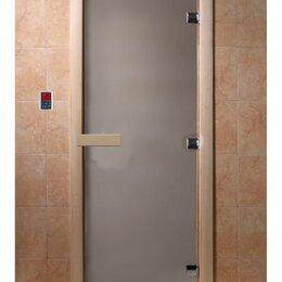 Межкомнатные двери - Дверь стеклянная (стекло сатин 8 мм, 3 петли, коробка ольха) 2000*800, 0