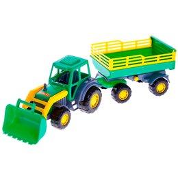 Автокресла - Трактор с прицепом №2 и ковшом «Мастер», цвета МИКС, 0