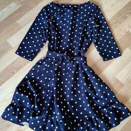 Платья - Платье темно синее в горошек, 0