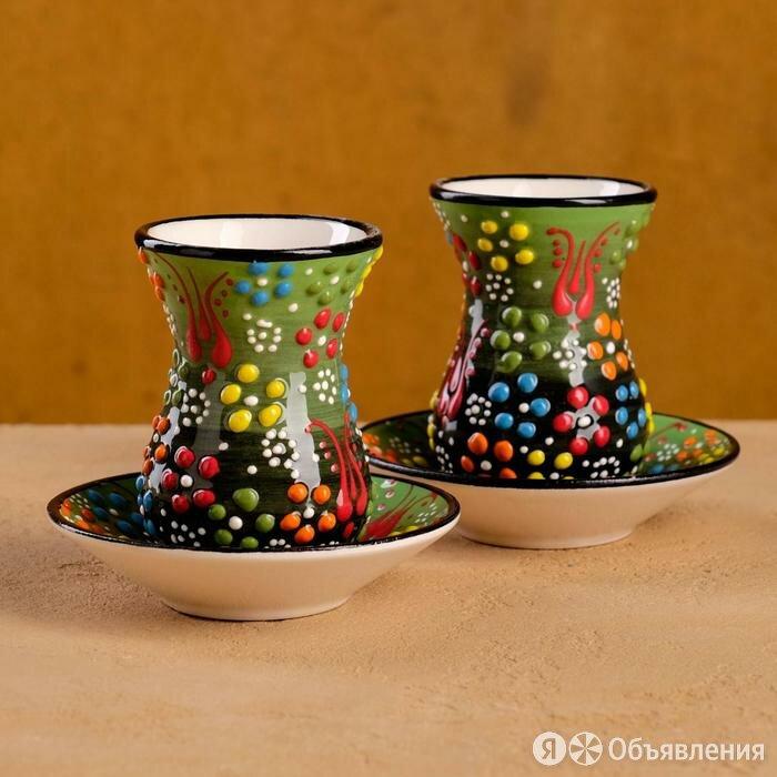 """Чайный набор 4 предмета """"Рельеф зеленый"""" 120мл по цене 1390₽ - Мебель для кухни, фото 0"""