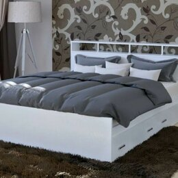 Кровати - Кровать с матрасом и ящиками 1,6 м новая, 0