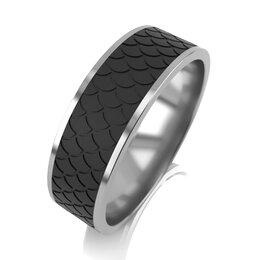 Комплекты - Обручальное кольцо из серебра с карбоном, 0