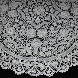 Скатерти и салфетки - Круглая скатерть кружевная ажурная, 190 см, 0