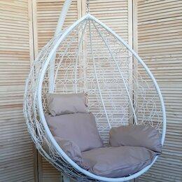 Подвесные кресла - Подвесное кресло Капля белое с бежевой подушкой, 0
