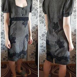 Платья - Платье шерстяное с кружевным узором , 0