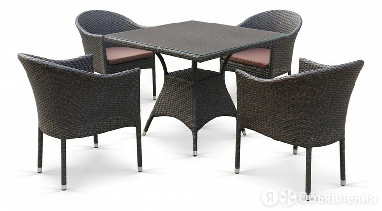 Набор уличный T190B/Y350A-W53-90x90 Brown 4Pcs по цене 63390₽ - Плетеная мебель, фото 0