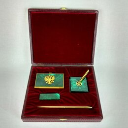 Сувениры - Подарочный набор визитница, ручка, флешка. Малахит, 0
