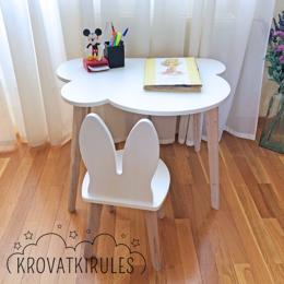 Столы и столики - Комплект - детский стульчик зайка и столик облачко, 0