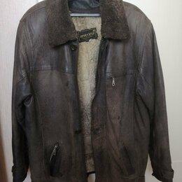 Куртки - Зимняя кожаная куртка с подкладом и новым воротником. Размер: XL, 0