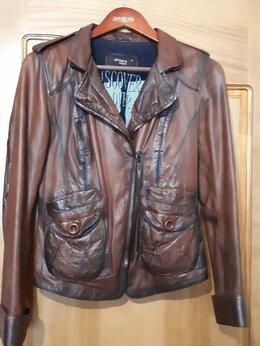 Куртки - Кожаная женская куртка коричневая в отличном…, 0