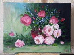"""Картины, постеры, гобелены, панно - Картина  маслом """"Натюрморт с цветами"""" 40х30мм, 0"""