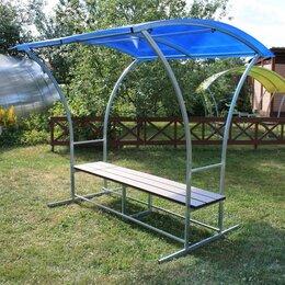 Столы - Лавочка с навесом Агросфера Комфорт, СПК 4мм Синий, Террасная доска, 0