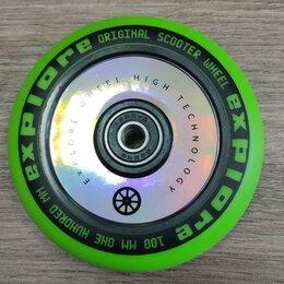 Аксессуары и запчасти - Колесо EXPLORE FLAT (Зеленый) для трюкового самоката 100 мм с подшипниками, 0