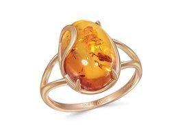 Кольца и перстни - Кольцо с янтарём из красного золота, 0