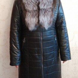 Пуховики - Новый кожаный пуховик женский 58 Челябинск, 0