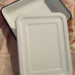 Сковороды и сотейники - Чугунная сковорода & лоток эмалированный, 0