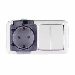 Электроустановочные изделия - Блок розетка+выключатель Альфа о/у  2кл со шт. белый ХЕГЕЛЬ, 0