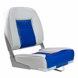 Походная мебель - Кресло складное мягкое, обивка винил, цвет серый/синий, Marine Rocket, 0