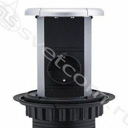 Электроустановочные изделия - Блок розеток выдвижной вертикальный, 3 розетки, черный, 1,8м,D-10см, 0