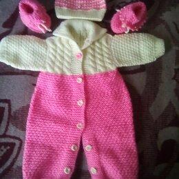 Комплекты - Комплект на малышку (комбинезончик,шапочка,пинетки), 0