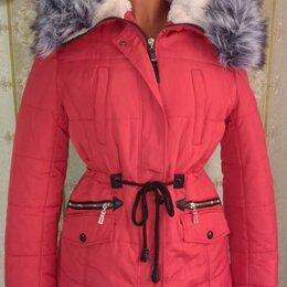 Пуховики - Красная зимняя куртка с капюшоном, р.46-48, 0