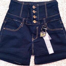Шорты - Женские джинсовые шорты с корсетным поясом, 0