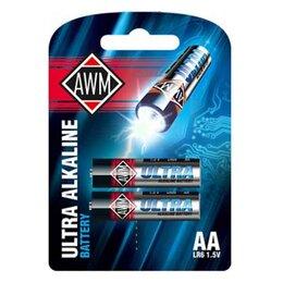 Батарейки - Пальчиковые щелочные батарейки AWMАА LR6 1.5 V блистер (комплект 2шт), 0