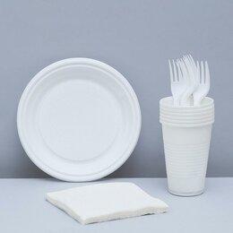 Наборы для пикника - Набор одноразовой посуды «Летний №1», 6 персон, цвет белый, 0