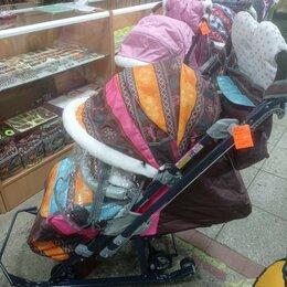 Санки и аксессуары - санки коляска меховые новые Ника-7/3 Скандинавия с ручкой-трость и бампером, 0