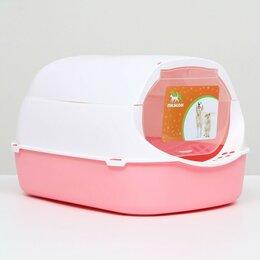 Туалеты и аксессуары  - Туалет-домик с фильтром, 43 х 32 х 28 см, бело-розовый, 0