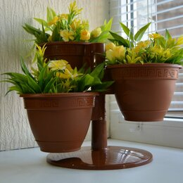 Цветы, букеты, композиции - Кашпо Цветочный каскад Антик шоколад 3 шт с поддоном, 0