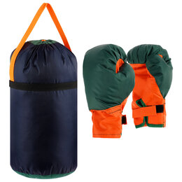 Тренировочные снаряды - Детский боксёрский набор большой (перчатки+ груша d25 h40см), 0