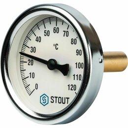 Метеостанции, термометры, барометры - Термометр биметаллический STOUT в комплекте с погружной гильзой, корпус Dn 63мм,, 0