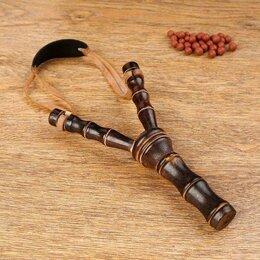 Игрушечное оружие и бластеры - Рогатка, двойной резиновый жгут, деревянная, 19х11 см, 0