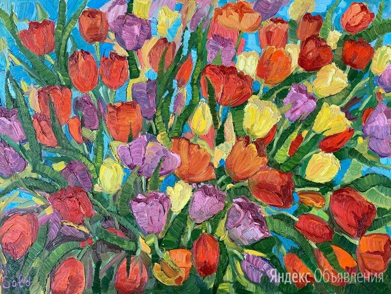 Картина масло Тюльпаны по цене 15000₽ - Картины, постеры, гобелены, панно, фото 0