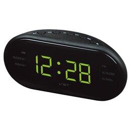 Музыкальные центры,  магнитофоны, магнитолы - Часы + радио зеленые цифры VST902-2, 0