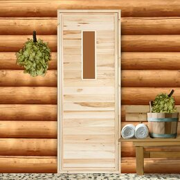 """Двери - Дверь для бани со стеклом """"Прямое стекло"""", 180×70см, 0"""