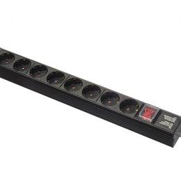 """Электроустановочные изделия - Блок розеток 19"""" 1U 16А 8 розеток, без шнура, 0"""
