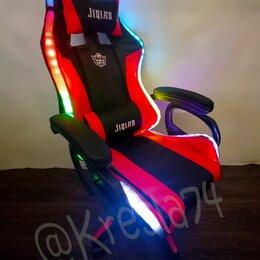Компьютерные кресла - Геймерское кресло красно-черное с RGB подсветкой и динамиками, 0