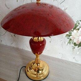 Настольные лампы и светильники - Настольная лампа с бордовым абажуром, 0