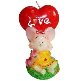 Декоративные свечи - Свеча Мышонок с сердцем Love 9см, 0