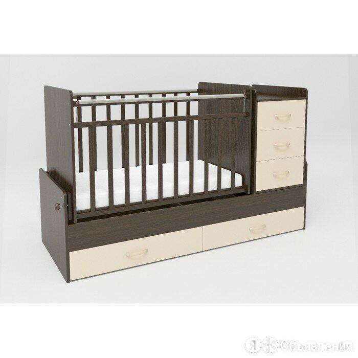 Кровать детская СКВ-5, опуск.бок.,маятник,4 ящика, венге фасад-бежевый по цене 16457₽ - Кроватки, фото 0