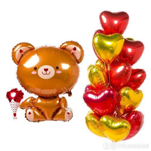 Композиция шаров сердец с фигурой мишки по цене 5890₽ - Воздушные шары, фото 0